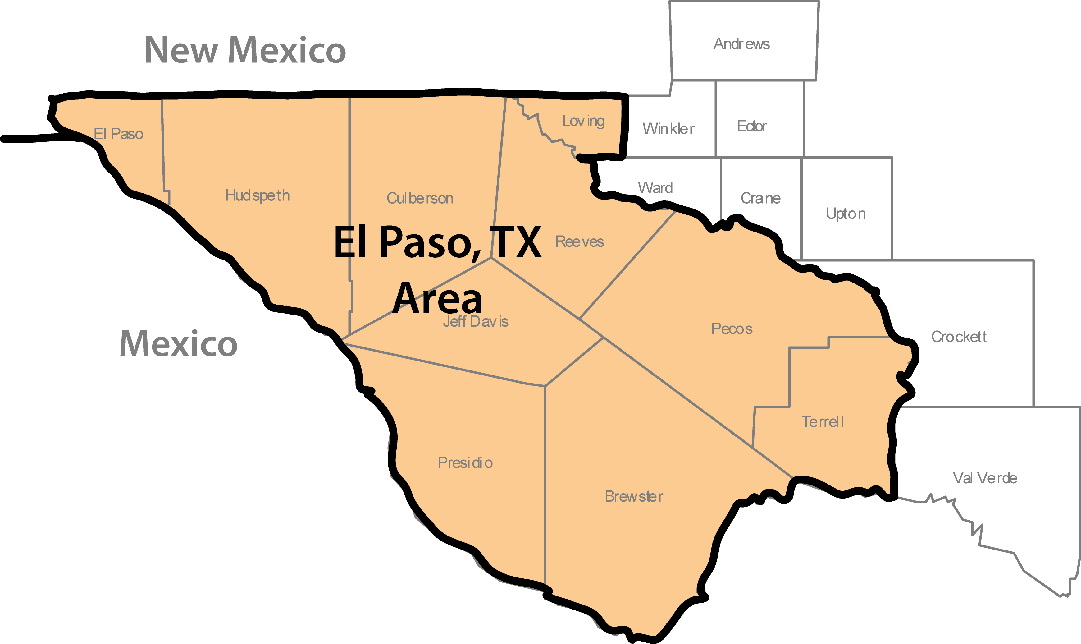 Map Of Western Texas.Western Texas Work Location Map Lecet Southwest