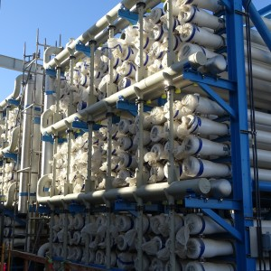 The reverse osmosis system consists of 14 'train' systems - 24 foot tubes arranged in 16 x 9 units.