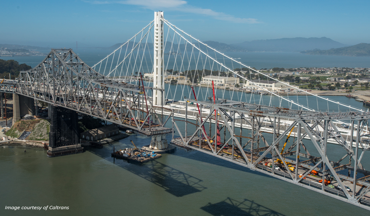 The suspension span separated with the upper and lower decks removed. Image courtesy of Caltrans