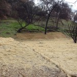 A cleared lot with straw wattle and erosion control matting in place.