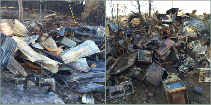The partial collection of a property owner's materials destroyed by the Butte Fire.