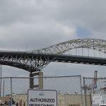 The original Gerald Desmond Bridge as viewed from the SFI jobsite.