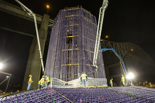 SFI crews place concrete at one of the tower pile caps